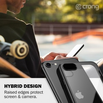 Crong Clear Cover - Etui iPhone SE 2020 / 8 / 7 (czarny)