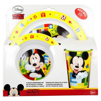 Mickey Mouse - Zestaw naczyń (Talerz,miska, kubek)