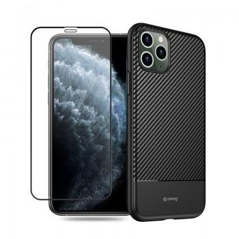 Crong Prestige Carbon Cover - Etui iPhone 11 Pro (czarny) + szkło w zestawie