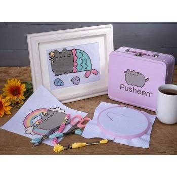 Pusheen - Zestaw do haftowania w metalowym pudełku