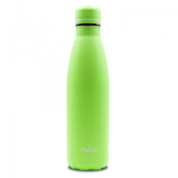 PURO ICON Fluo - Butelka termiczna ze stali nierdzewnej 500 ml (Green) (Powder Coating)