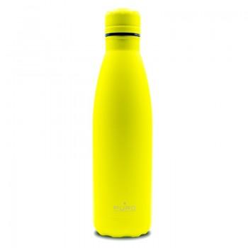 PURO ICON Fluo - Butelka termiczna ze stali nierdzewnej 500 ml (Yellow) (Powder Coating)
