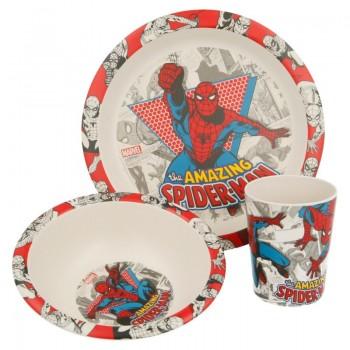 Spiderman - Zestaw naczyń Bambusowych (Talerz, miska, kubek)