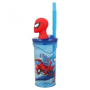 Spiderman - Kubek ze słomką i figurką 3D 360 ml