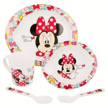 Minnie Mouse - Zestaw naczyń do mikrofali 5 szt (Talerz, miska, kubeczek, widelec, łyżeczka)