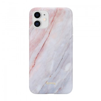 Crong Marble Case – Etui iPhone 11 (różowy)