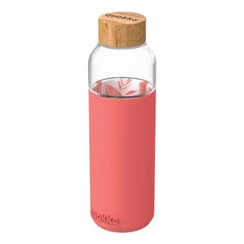 Quokka Flow -  Butelka na wodę ze szkła 660 ml (Inner Pink Botanical)