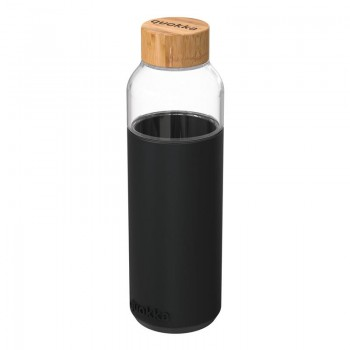 Quokka Flow -  Butelka na wodę ze szkła 660 ml (Black)