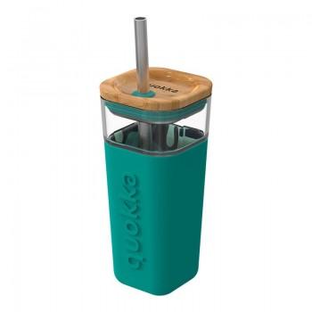 Quokka Liquid Cube -  Kubek szklany 540 ml ze słomką ze stali nierdzewnej (Inner Tropical Flow)