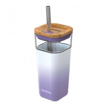 Quokka Liquid Cube -  Kubek szklany 540 ml ze słomką ze stali nierdzewnej (Lilac Gradient)