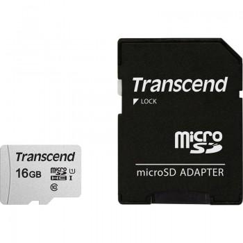 Transcend Memory MicroSDHC Class 10 - Karta pamięci 16 GB z adapterem