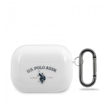 US Polo Assn Double Horse Logo - Etui Apple Airpods Pro (biały)