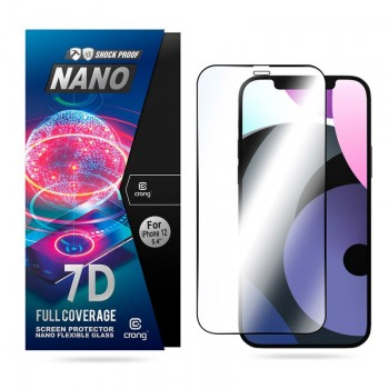 Crong 7D Nano Flexible Glass - Niepękające szkło hybrydowe 9H na cały ekran iPhone 12 Mini