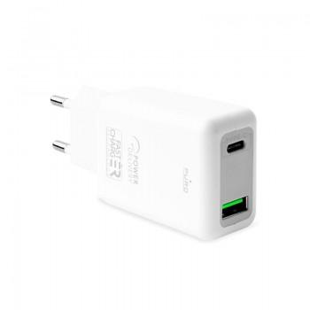 Puro Fast Travel Charger - Ładowarka sieciowa USB-C + USB-A 30W (biały)