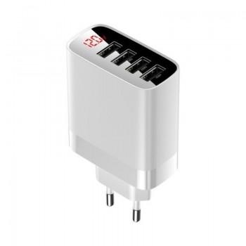 Baseus Mirror Lake - Ładowarka 4x USB z wyświetlaczem (biały)