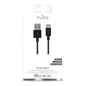 PURO Plain - Kabel połączeniowy USB Apple złącze Lightning MFi 1m (czarny)