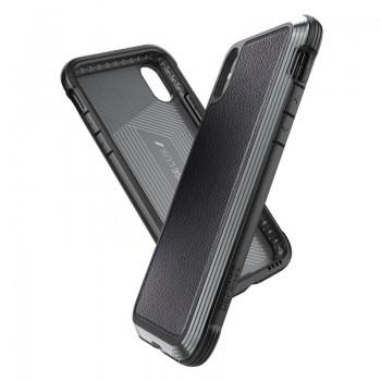 X-Doria Defense Lux - Etui aluminiowe iPhone Xs / X (Drop test 3m) (Black Leather)