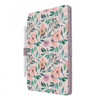 "Speck Balance Folio Print - Etui iPad 10.2"" 8 (2020) / 7 (2019) z powłoką MICROBAN (Watercolor Roses / Washed Lilac)"
