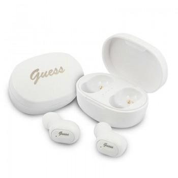 Guess Script Logo - Słuchawki Bluetooth TWS + etui ładujące (biały)