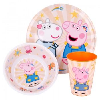 Peppa Pig - Zestaw naczyń z melaniny (talerzyk + miska + kubek)