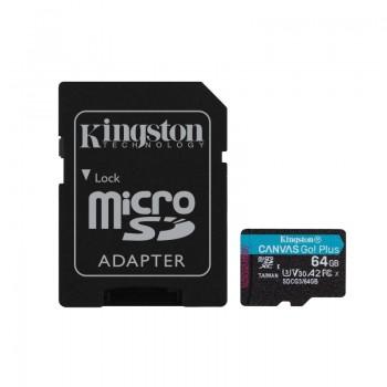 Kingston Canvas Go Plus microSDXC - Karta pamięci 64GB A2 V30 Class 10 UHS-I U3 170/70 Mb/s z adapterem