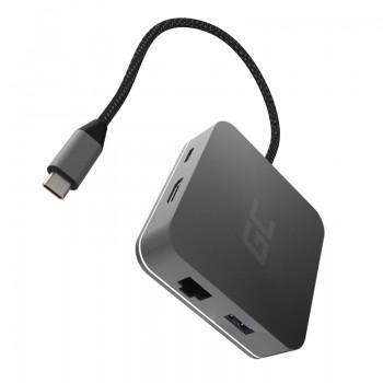 Green Cell - Adapter, Przejściówka, HUB USB-C 6w1 (USB 3.0 HDMI Ethernet USB-C) do Apple MacBook, Dell XPS, Asus ZenBook i innyc