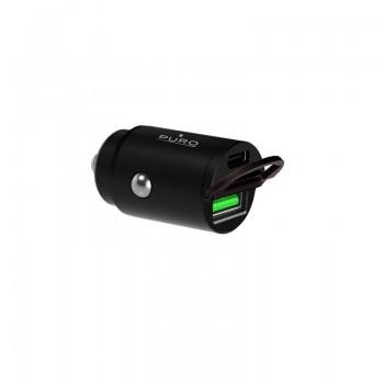 PURO Mini Car Fast Charger – Ładowarka samochodowa 1 x USB-A + 1 x USB-C Power Delivery 30 W (czarny)