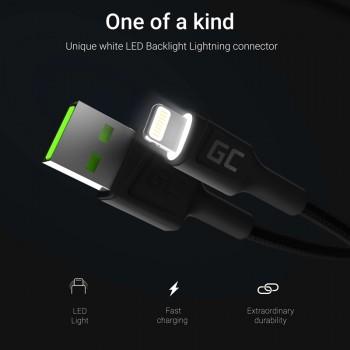 Green Cell Ray - Kabel Przewód USB - Lightning 120cm z białym podświetleniem LED, szybkie ładowanie Apple 2.4A