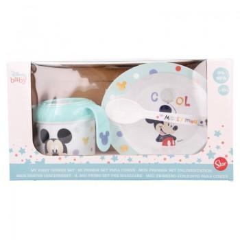 Mickey Mouse - Zestaw naczyń w opakowaniu prezentowym (miska, kubek niekapek 240ml i łyżeczka)