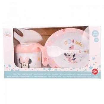 Minnie Mouse - Zestaw naczyń w opakowaniu prezentowym (miska, kubek niekapek 240ml i łyżeczka)