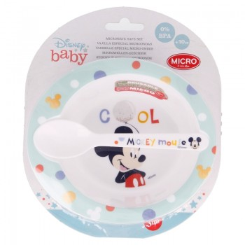 Mickey Mouse - Zestaw do mikrofali (miska z łyżeczką)
