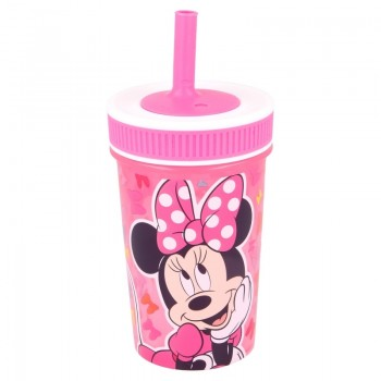 Minnie Mouse - Kubek z silikonową słomką 465 ml