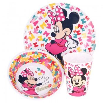 Minnie Mouse - Zestaw naczyń z melaminy (talerz, miska i kubek)