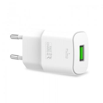 PURO White Mini Travel Fast Charger – ładowarka sieciowa USB-A 12 W (biały)