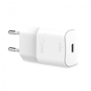 PURO White Mini Fast Travel Charger - Ładowarka sieciowa USB-C Power Delivery 20W (biały)