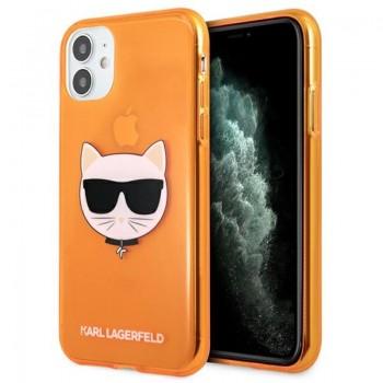 Karl Lagerfeld Choupette Head - Case for iPhone 11 (Fluo Orange)