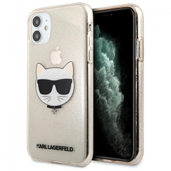Karl Lagerfeld Choupette Head Glitter - Case for iPhone 11 (Gold)