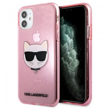 Karl Lagerfeld Choupette Head Glitter - Case for iPhone 11 (Pink)