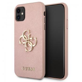 Guess Saffiano 4G Big Metal Logo - Etui iPhone 11 (różowy)