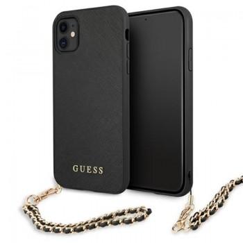 Guess Saffiano Chain - Etui iPhone 11 (czarny)