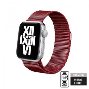 Crong Milano Steel – Pasek ze stali nierdzewnej do Apple Watch 38/40mm (czerwony)