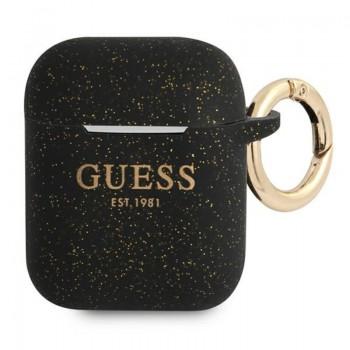 Guess Silicone Glitter Case Est – Etui Airpods (czarny)
