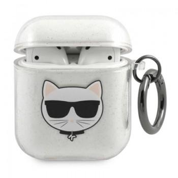 Karl Lagerfeld Choupette Head Glitter - Etui Airpods (srebrny)