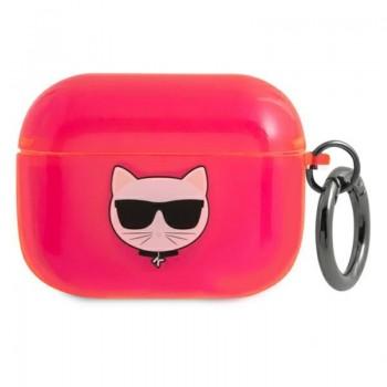 Karl Lagerfeld Choupette Head Glitter - Etui Airpods Pro (fluo różowy)