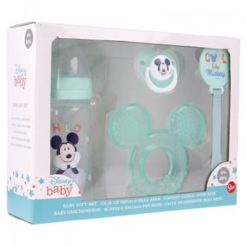 Mickey Mouse - Zestaw dla niemowlaka (butelka za smoczkiem 240ml, smoczek anatomiczny, gryzak, uchwyt na gryzak)