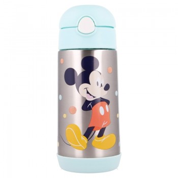 Mickey Mouse - Butelka ze stali nierdzewnej ze słomką 530 ml