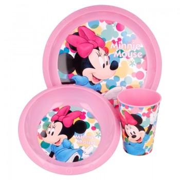 Minnie Mouse - Zestaw naczyń (talerzyk, miska, kubek 260 ml) (różowy)