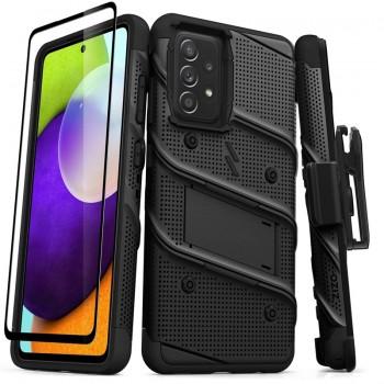 ZIZO BOLT Series - Pancerne etui Samsung Galaxy A52 5G/A52S ze szkłem 9H na ekran + uchwyt z podstawką (czarny)