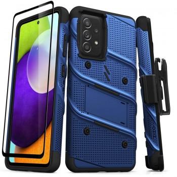 ZIZO BOLT Series - Pancerne etui Samsung Galaxy A52 5G/A52S ze szkłem 9H na ekran + uchwyt z podstawką (niebieski)