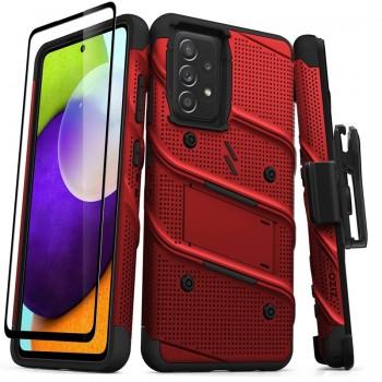 ZIZO BOLT Series - Pancerne etui Samsung Galaxy A52 5G/A52S ze szkłem 9H na ekran + uchwyt z podstawką (czerwony)